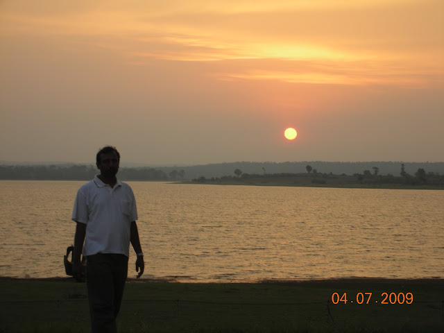 golden sunset over Kabini river