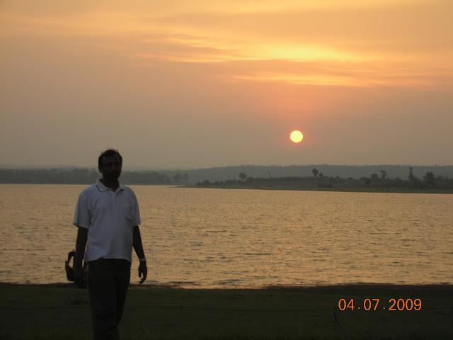 golden sunset over Kabini river