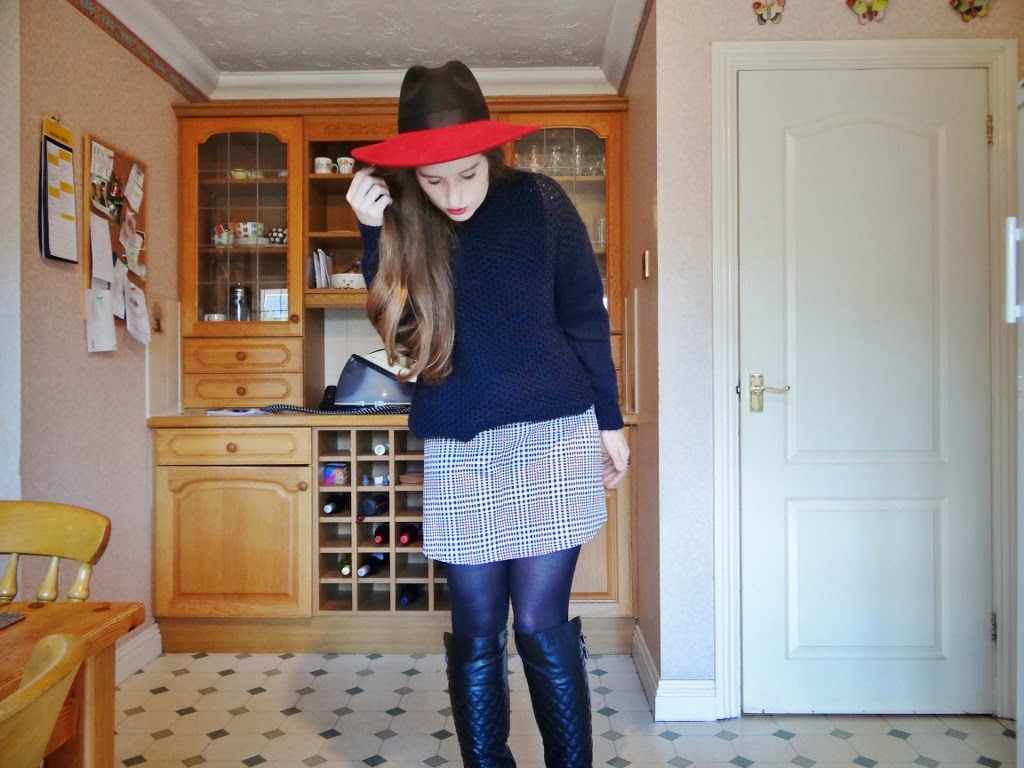 red black contrast fedora topshop