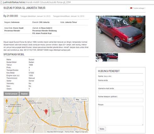 Contoh Iklan Lengkap Mobil Bekas Suzuki Forza GL Jakarta Timur