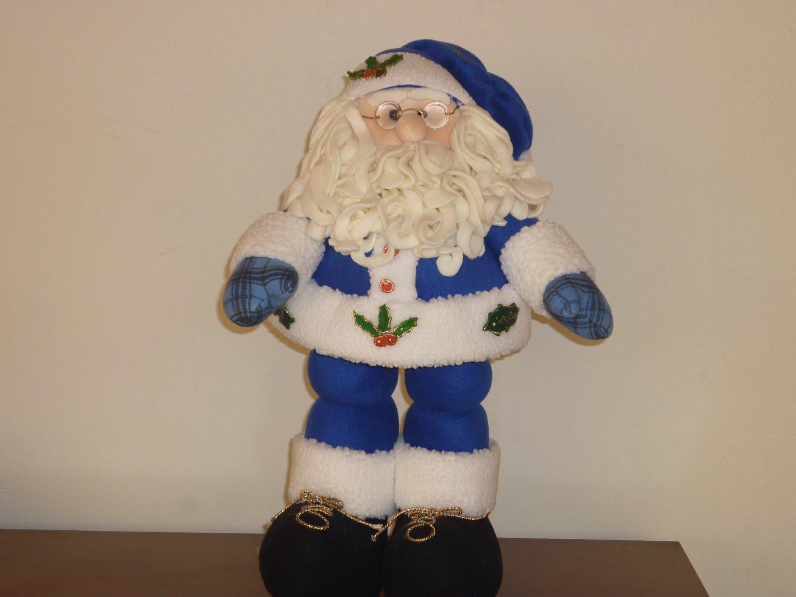 Decoraciones navide as papa noel azul - Papa noel decoracion navidena ...