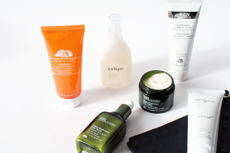 review of origins mega mushroom skin relief serum and face cream, origins ginzing mask, ren flash rinse 1 minute facial, claudia louch mud mask, jurlique rosewater balancing mist