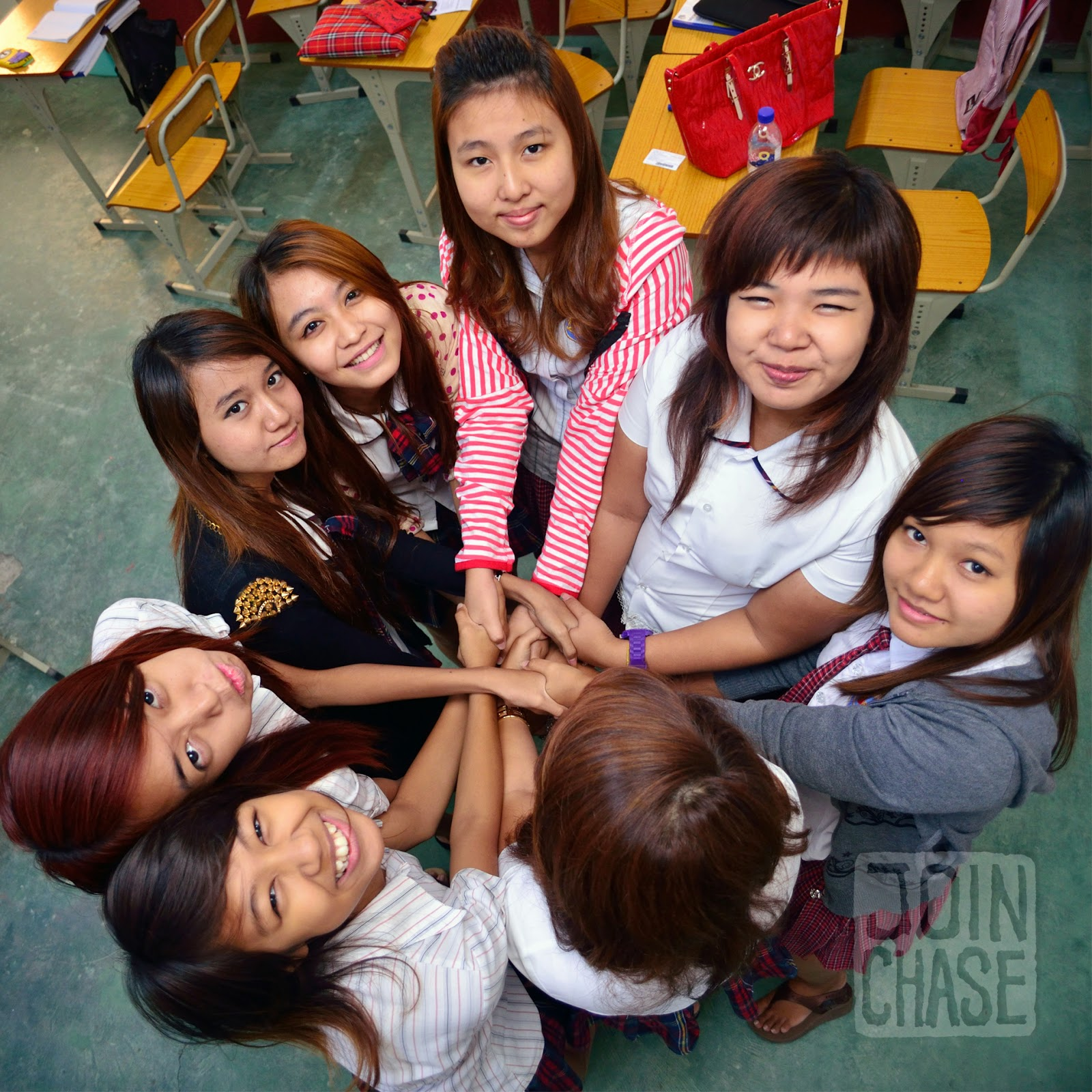 Students doing the Human Knot activity in Yangon, Myanmar.