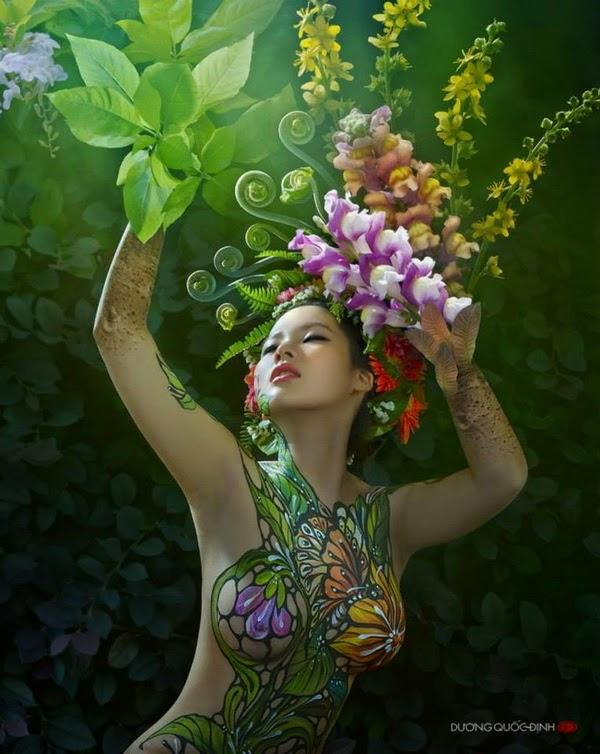 Ảnh gái xinh Body painting của Dương quốc định 17