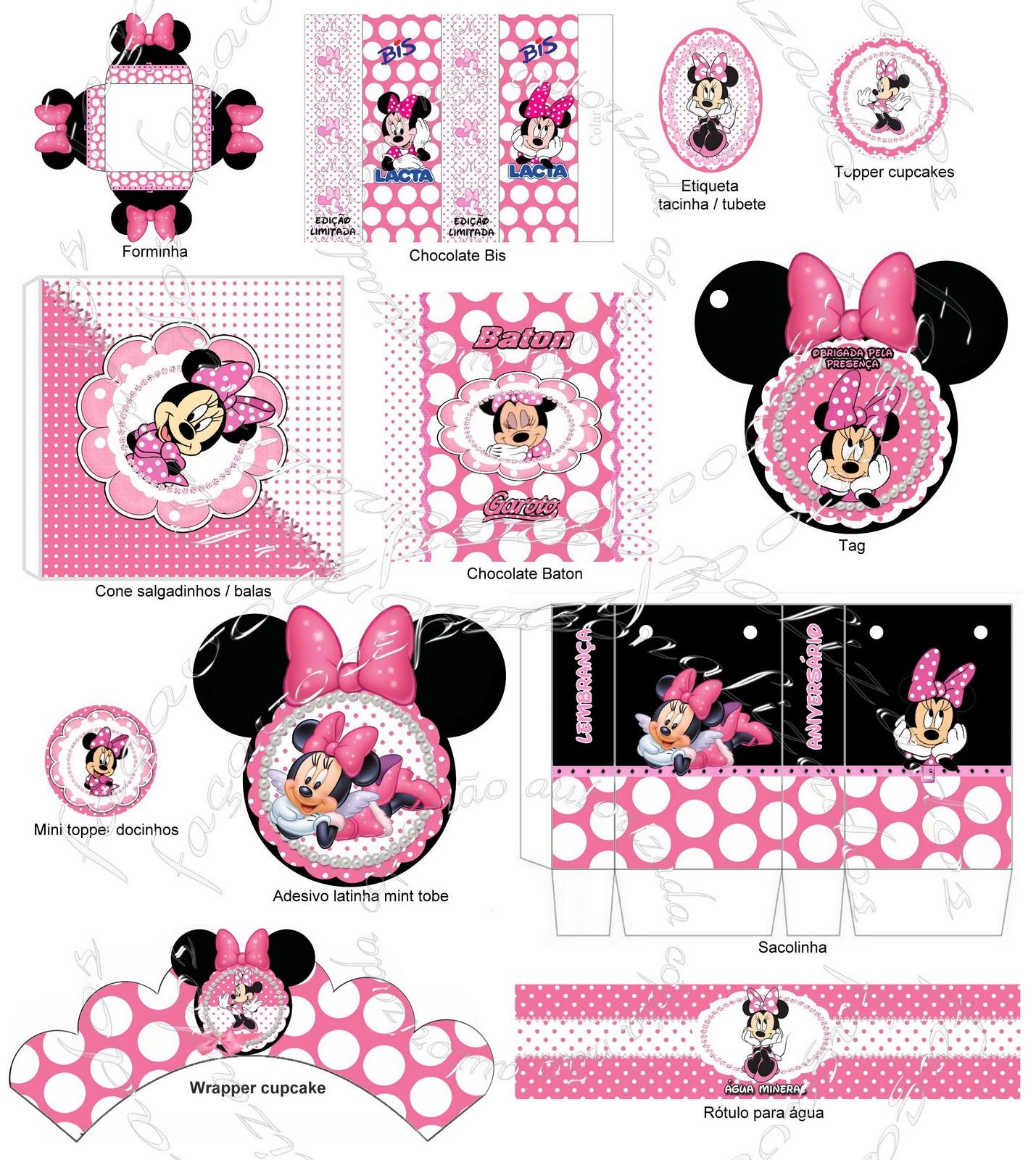 Faça você personalizados: Kit Festa Minnie rosa para imprimir