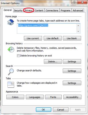 how to turn on pop up blocker internet explorer
