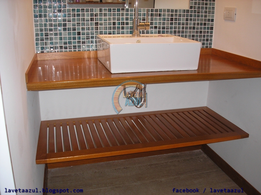 La veta azul mueble de ba o en madera maciza de cerejeira - Mueble de bano madera ...