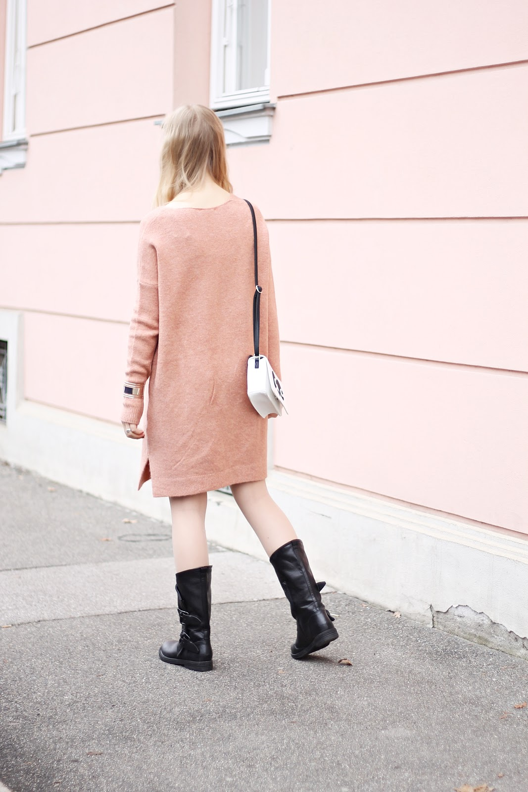 boots and knit dress