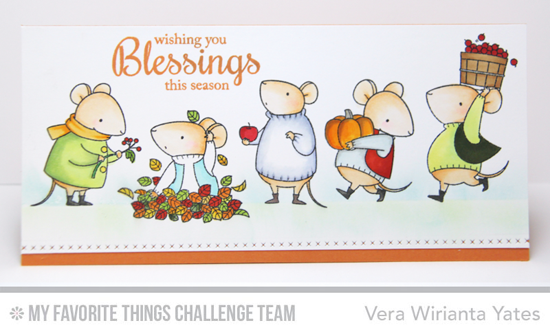 Blessings Card by Vera Wirianta Yates featuring the Birdie Brown Harvest Mouse stamp set and the Fall Foliage stamp set #mftstamps