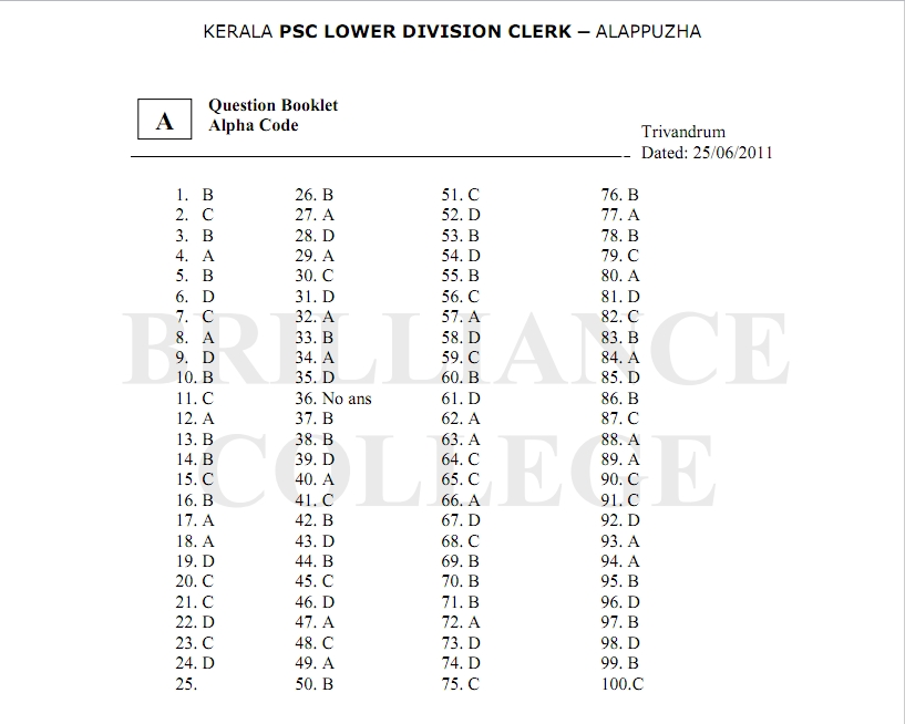 Kerala psc portal 2011 kerala psc ldc alappuzha answer key and solutions 2011 ldc alappuzha question paper 2011 thecheapjerseys Choice Image