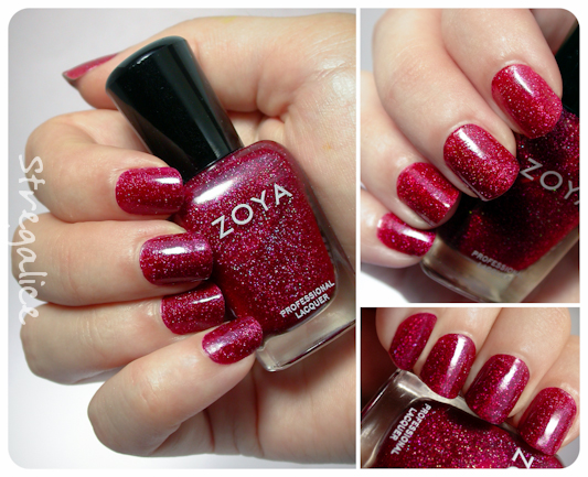 Zoya Blaze red holographic swatches