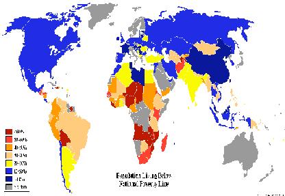 Mapa mundial de la pobreza