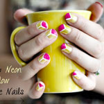 Pink & Neon Yellow Triangle nails DIY