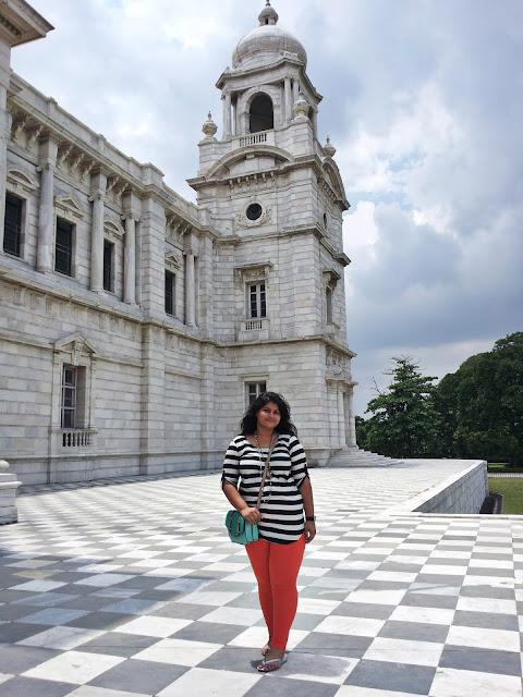 Beauty of Victoria Memorial, Kolkata heritage, monochrome look, tangerine pants with stripe tunic