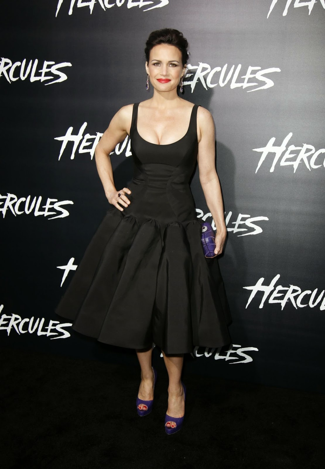 Carla Gugino in a black Zac Posen dress and purple peep-toes at the 'Hercules' LA premiere