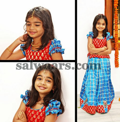 Baby in Blue Checks Silk Lehenga