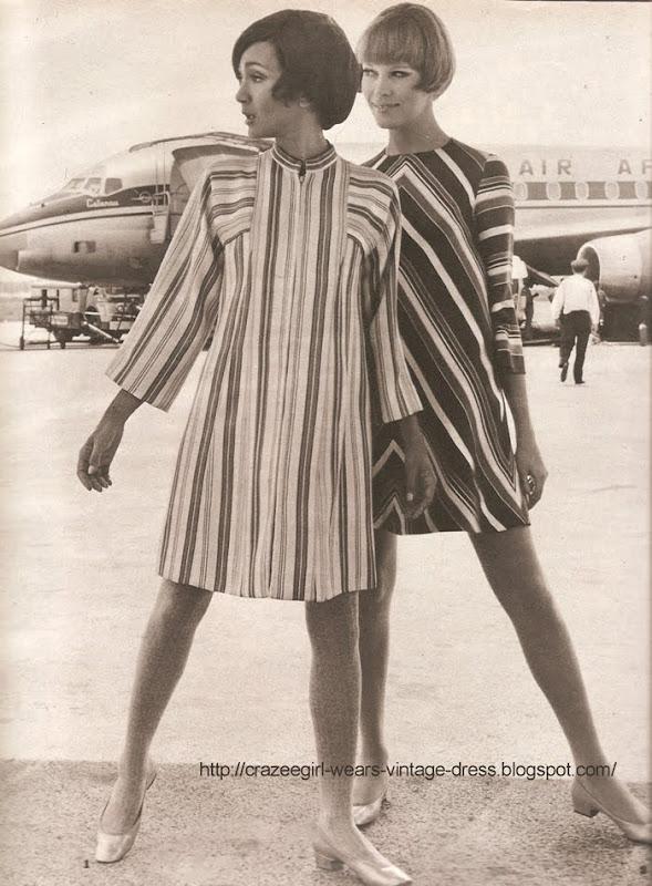 striped dress 1967 60s 1960 Robe rayée multicolore , manches raglan évasées. NALE JUNIOR chez LAURA  Robe en soie bayadère , blanc vert et marine, travaillée chevrons, très évasée, manches 3/4. RALLYE LEMPEREUR chez HALPHEN.