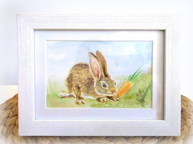 ACEO watercolour artwork: Rabit by Elizabeth Casua, tHE 33ZTH oRDER. Small paintings