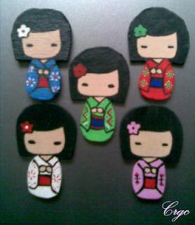 DIY Broche madera geisha