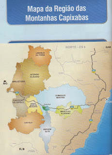 Mapa da região das Montanhas Capixabas