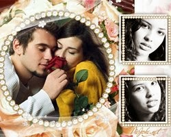 moldura 3 fotos com flores