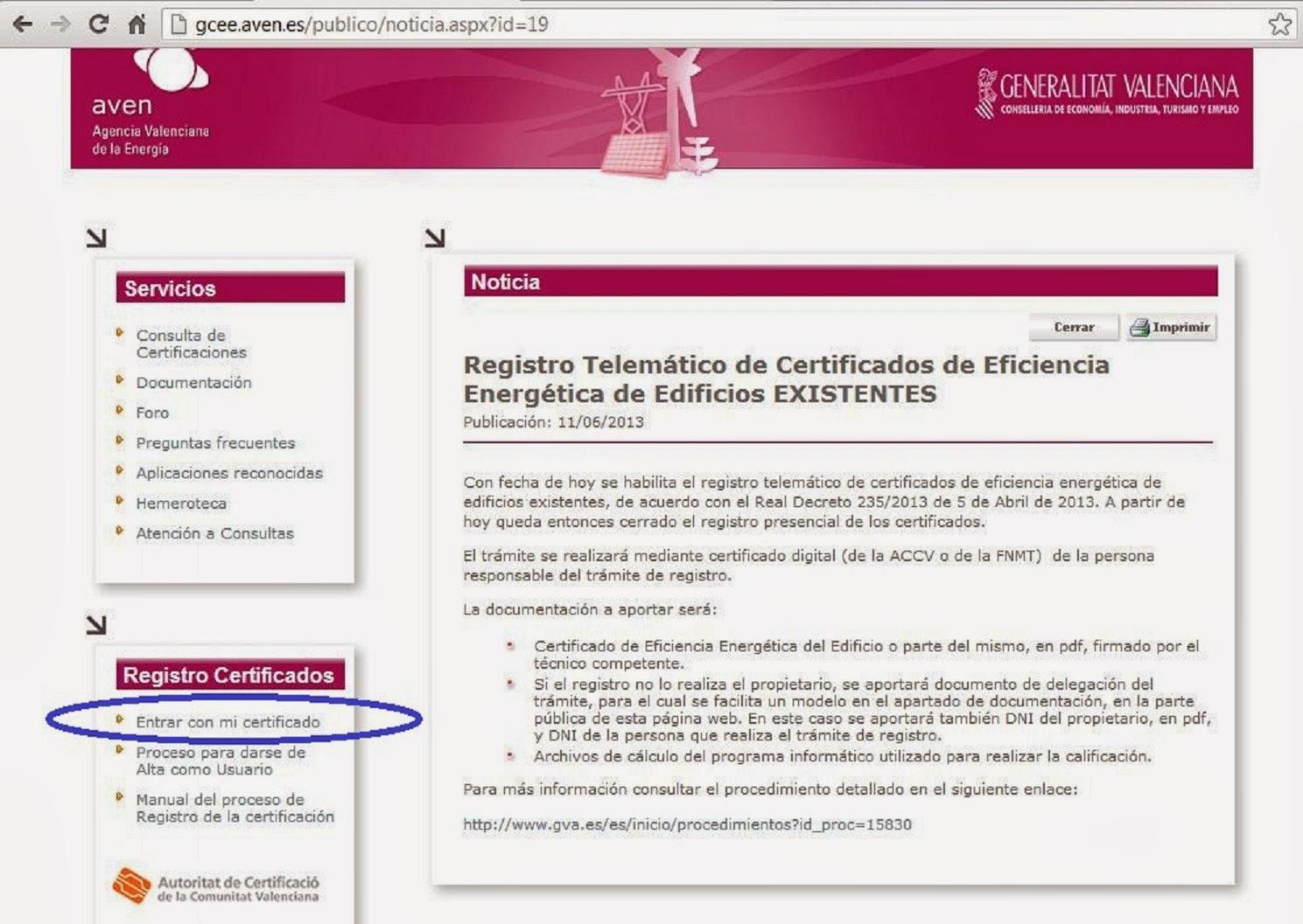 Registro certificado energético