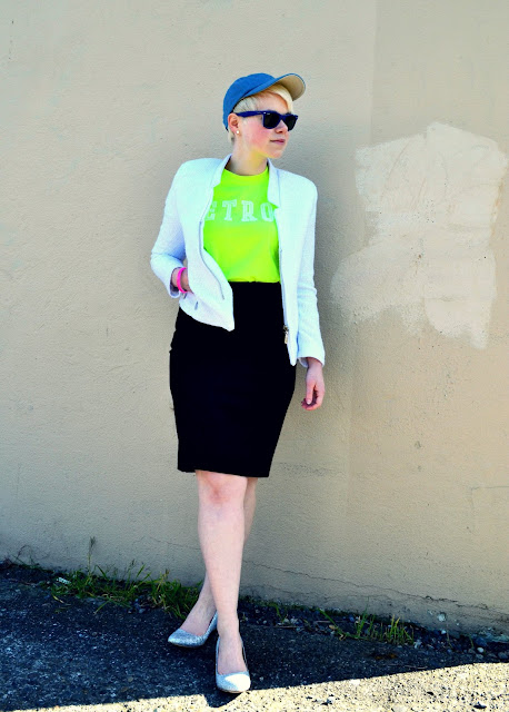 sports luxe, baseball cap, how to, style, blonde, fleur d'elise, neon, j.crew