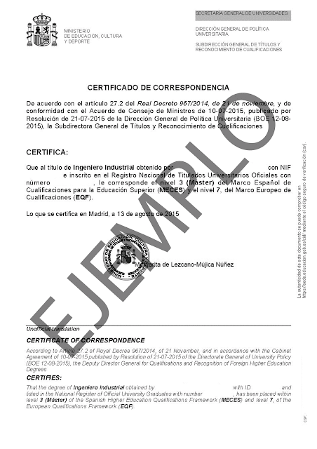 Certificado Ingeniero Industrial MECES-3 y EQF-7