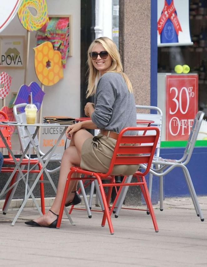 Maria Sharapova flaunts legs outside her Sugarpova store in Wimbledon Village