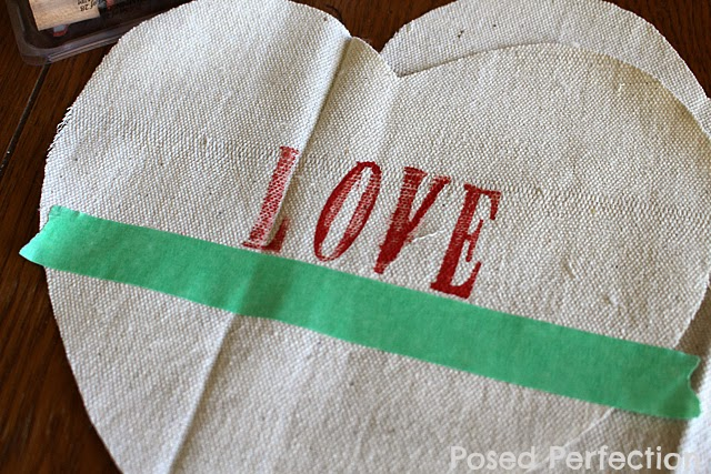 Stamping Drop Cloth Heart Pillows
