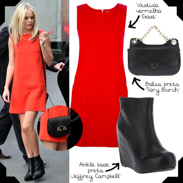 O ESTILO DE KATE BOSWORTH_vestido vermelho_tubinho_botinha de couro_kate bosworth