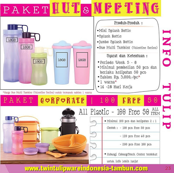 Paket Tulipware 2016 : Paket HUT, Paket Meeting, Paket Corporate