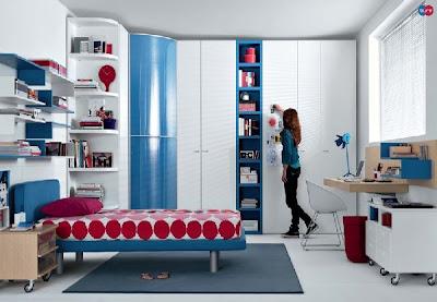 Dormitorios Juveniles Modernos con cama y armario azul