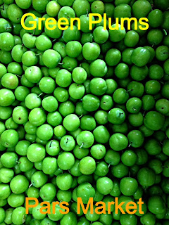 The sour cherry plum...Goje sabz, literally translated as green tomato or sour green plums, is said to grow mainly in the mountain areas of Iran. Karaj, in the western part of Tehran is also considered as one of the main growing and producing areas. This self fertile round green plums is often picked before it is fully ripe and eaten fresh or cooked by itself or with sour cherries. The local usually eat them sprinkled and spiced with salt and hence are made into 'goje sabz,' a popular pastime indulgence especially among the ladies.