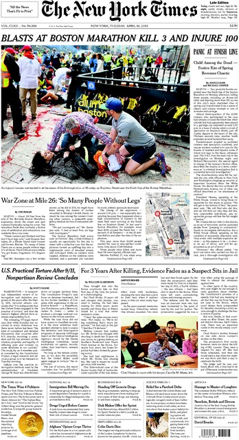 New York Times Boston marathon bombing front page