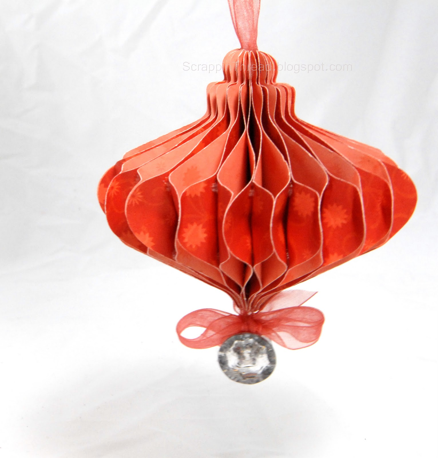 Christmas Ornament handcrafted from double sided paper