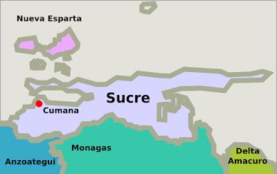 Mapa del estado Sucre Venezuela
