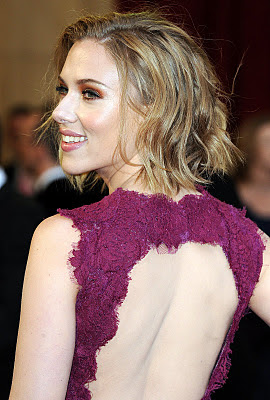 Scarlett Johansson is looking gorgeous in a backless dress