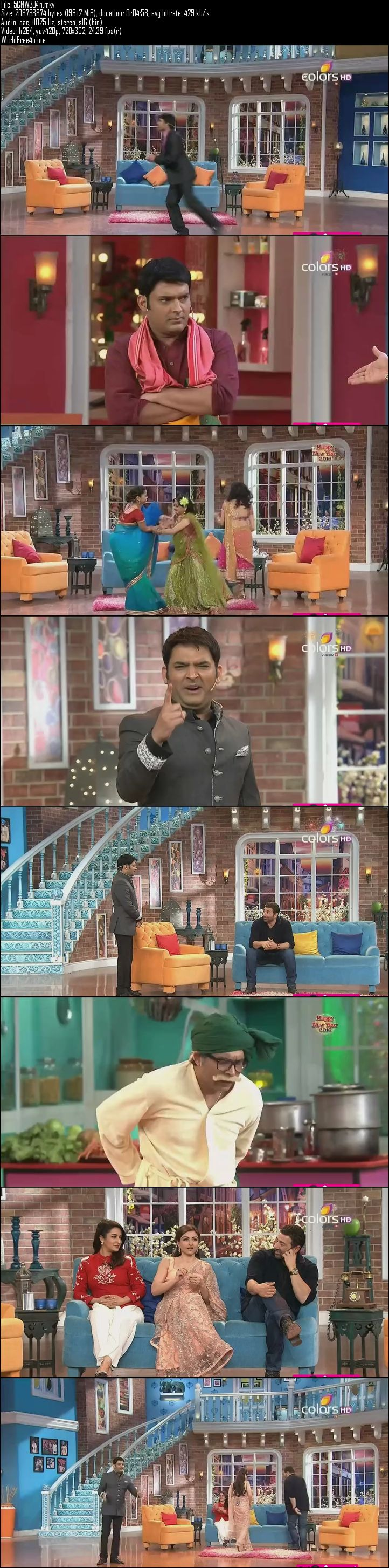 Screen Shot Of Comedy Nights With Kapil 3rd January 2016 Episode 190 200MB Watch Online