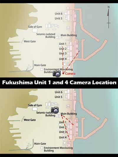 Fukushima NPP Unit 1 and 4 Livecam Locations
