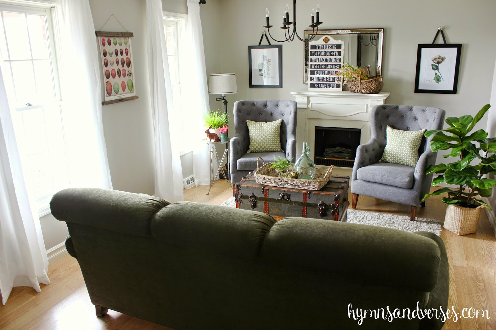 Spring Living Room with Coral and Green
