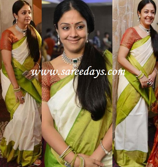 Latest saree designs jyothika in white silk saree jyothika in white silk saree altavistaventures Image collections
