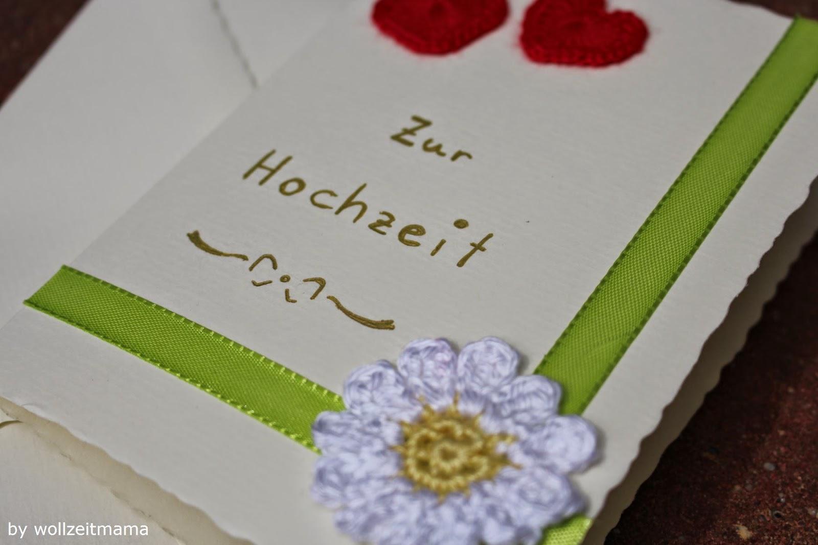 Hochzeitskarte basteln und häkeln