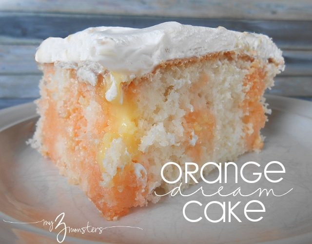 jello poke cake, orange and vanilla