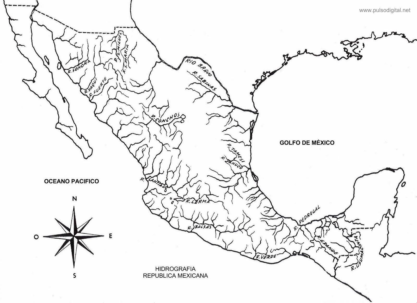Mapa de la hidrografía de México