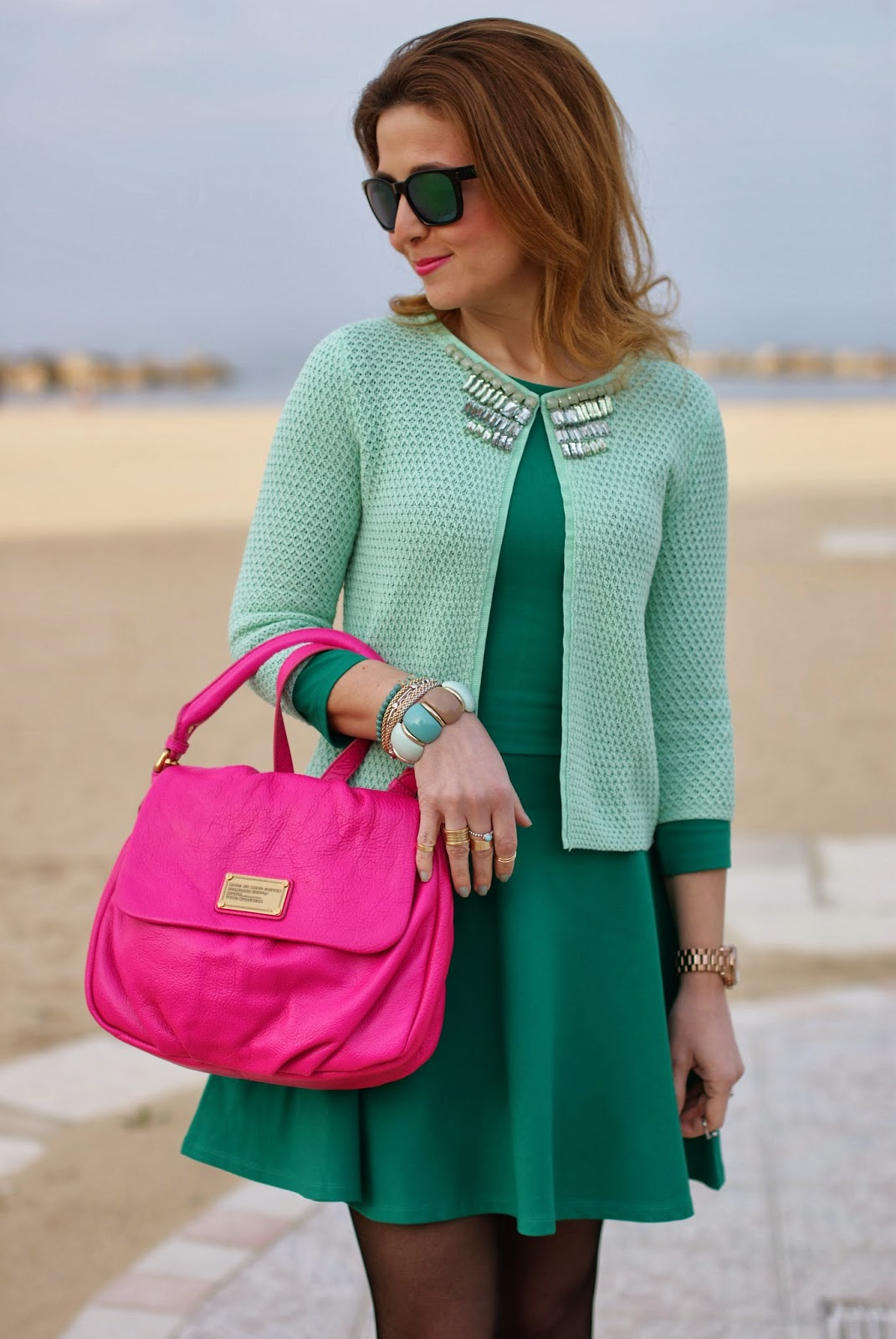 Jeweled cardigan, Marc by Marc Jacobs lil ukita bag, Giorgia and Johns, Fashion and Cookies, fashion blogger
