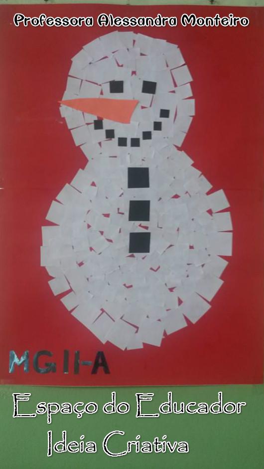 Boneco de Neve com Quadradinhos de Papel Espaço do Educador