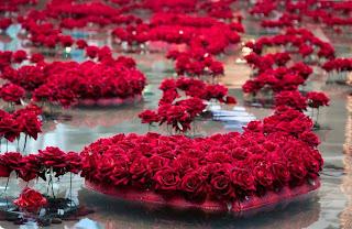 islas de corazones de rosas rojas
