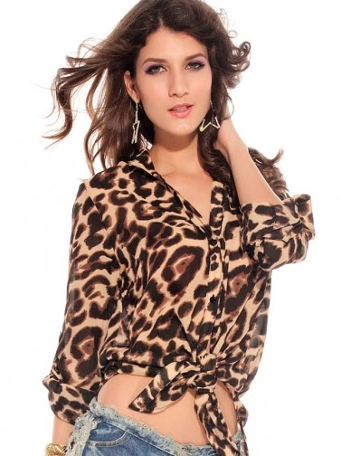 Leopard Printing Long Sleeve Lace-Up Chiffon Blouse