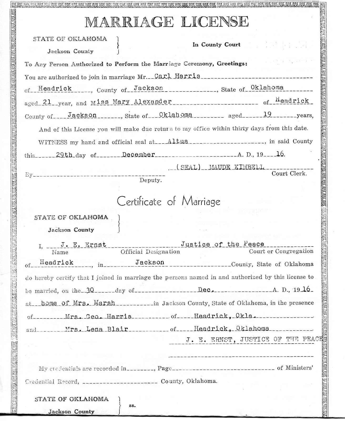 Mary marie harris of the people named on the certificate besides mary and carl the only one i recognize is mrs geo harris that would be annie harris carls step mother 1betcityfo Images
